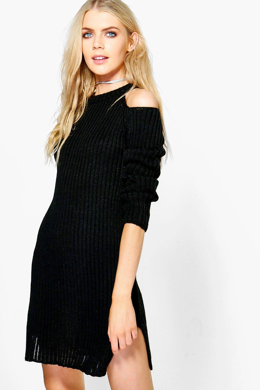 Nicole Cold Shoulder Rib Knit Jumper Dress
