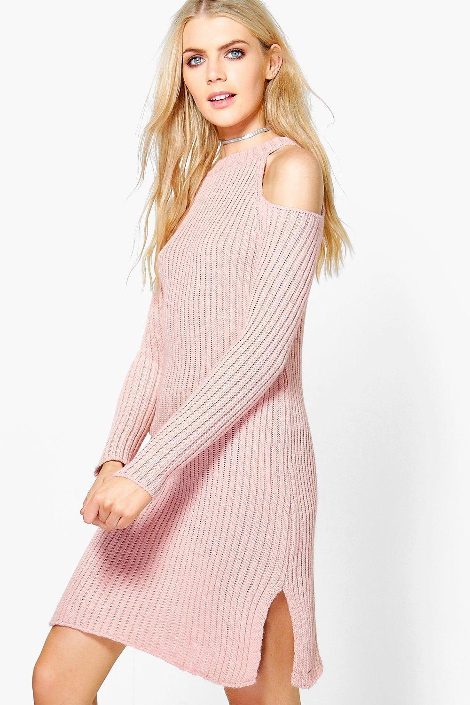 Cold Shoulder Rib Knit Jumper Dress  nude