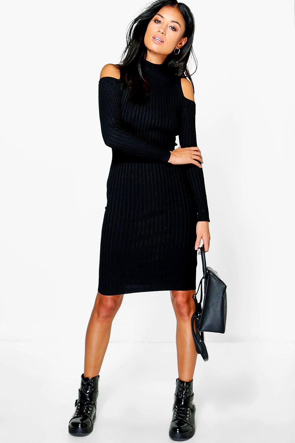 Karina Cold Shoulder Rib Knit Dress
