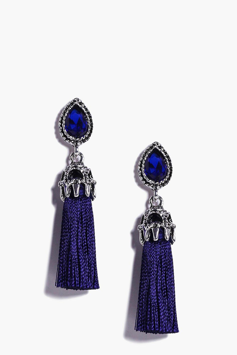Eva Navy Tassel Crystal Earrings
