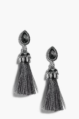 Imogen Grey Tassel Crystal Earrings