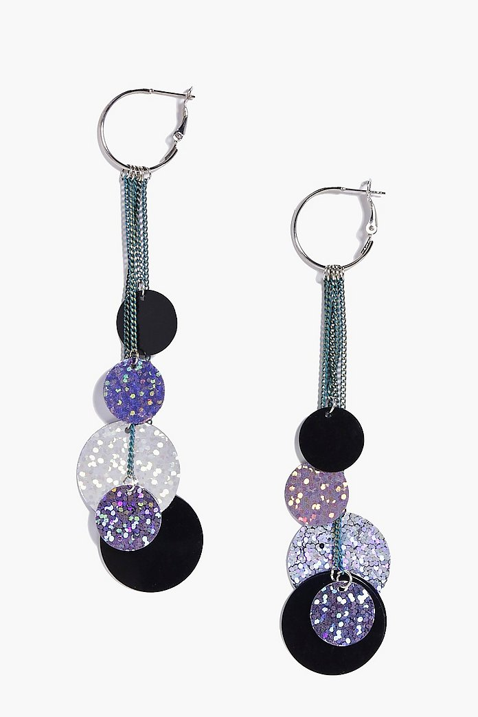 Lacey Pastel Disc Tassel Holographic Earrings
