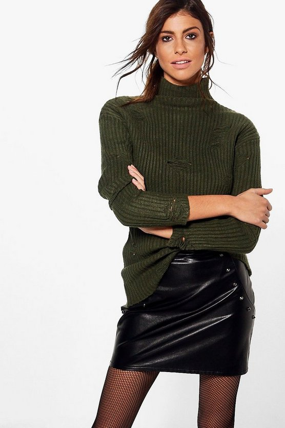 Abi Funnel Neck Distressed Jumper
