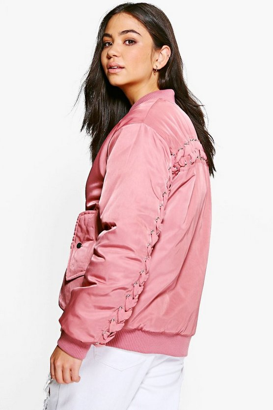 Lois Eyelet Lace Back Bomber Jacket