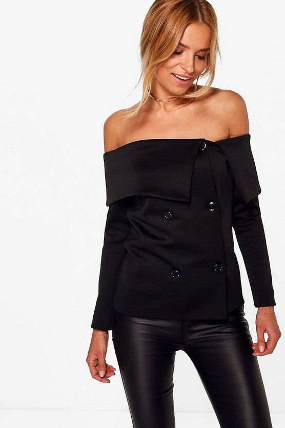 Amelia Off Shoulder Scuba Blazer