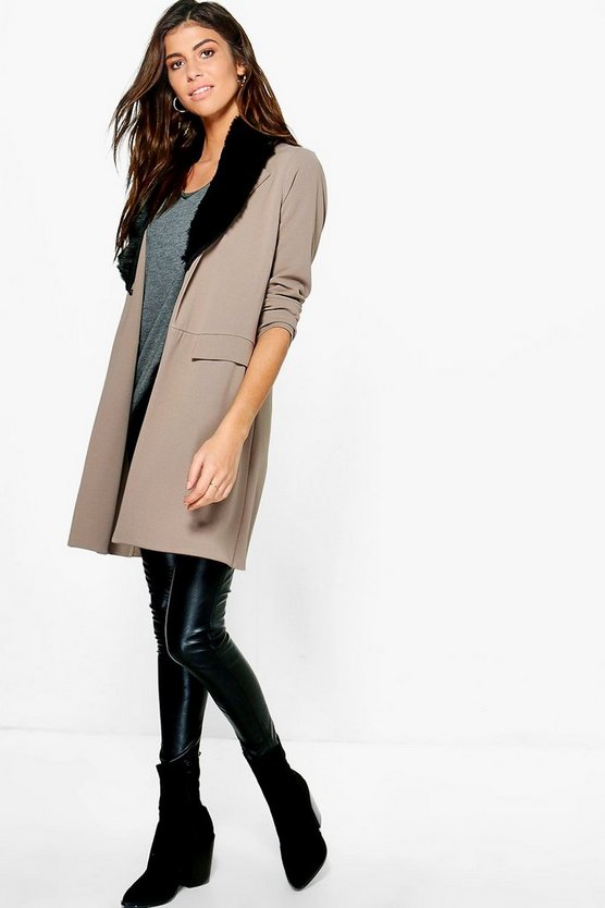 Molly Detachable Faux Fur Collar Duster