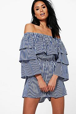 Mia Extreme Ruffle Striped Playsuit