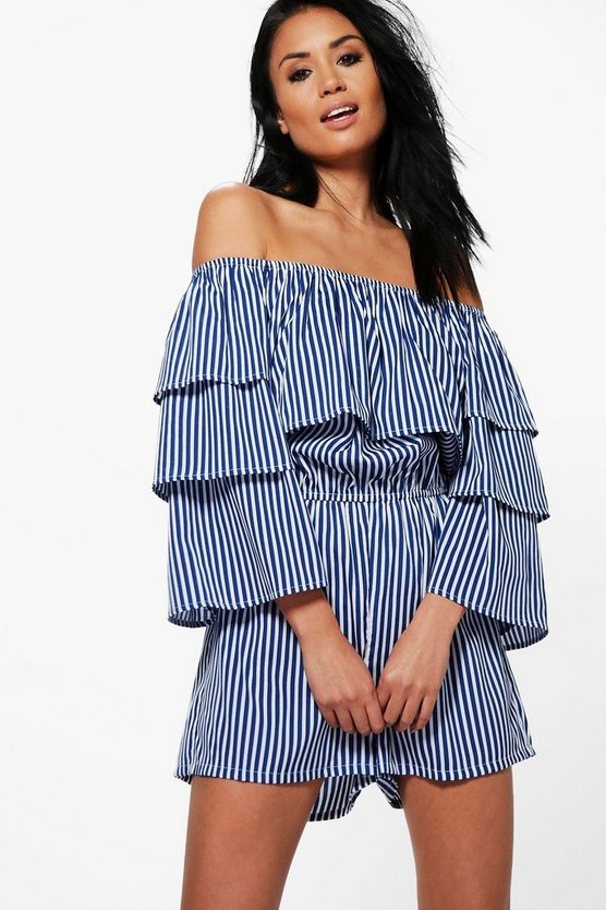 Extreme Ruffle Striped Playsuit