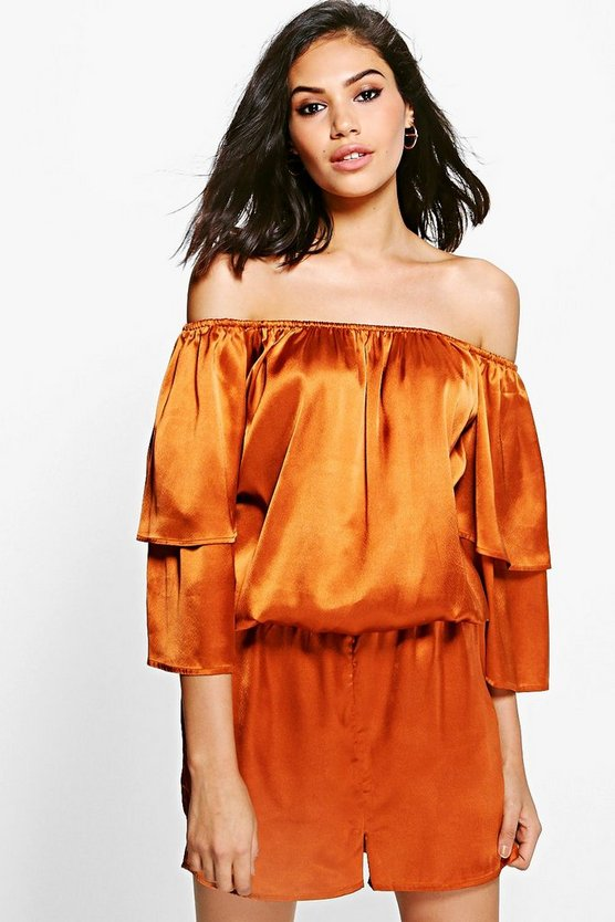 Eve Extreme Ruffle Off The Shoulder Playsuit