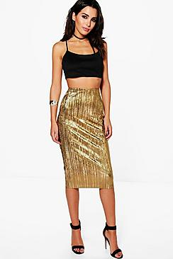 Amaya Metallic Pleated Midi Skirt