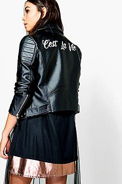 Phoebe Slogan Back PU Biker Jacket