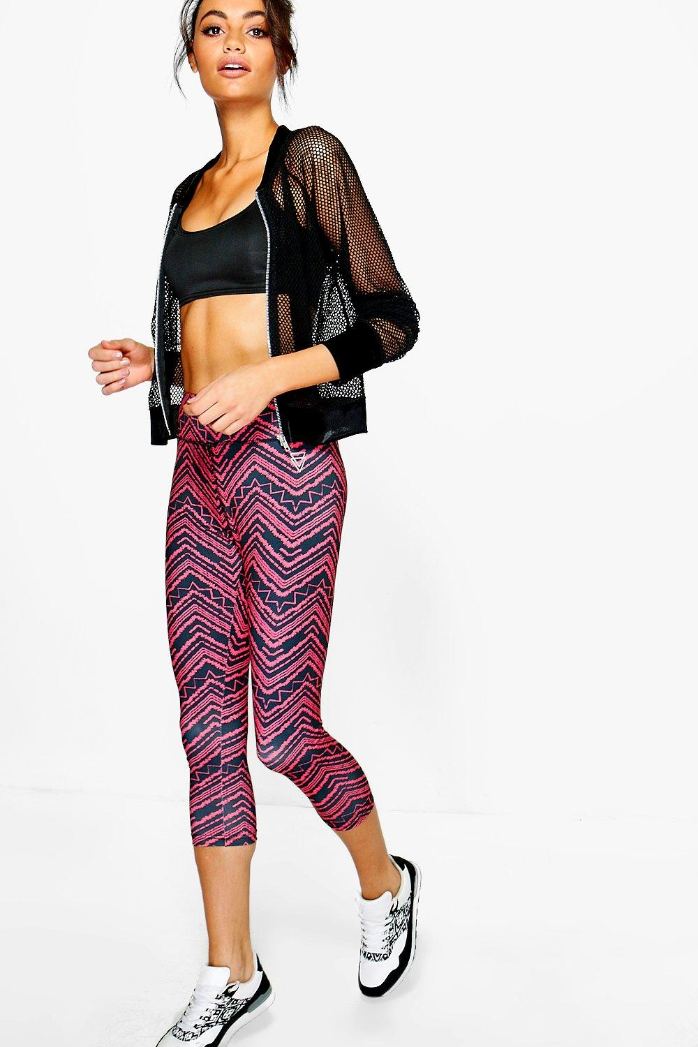 Katie Fit Zig Zag Running Leggings red