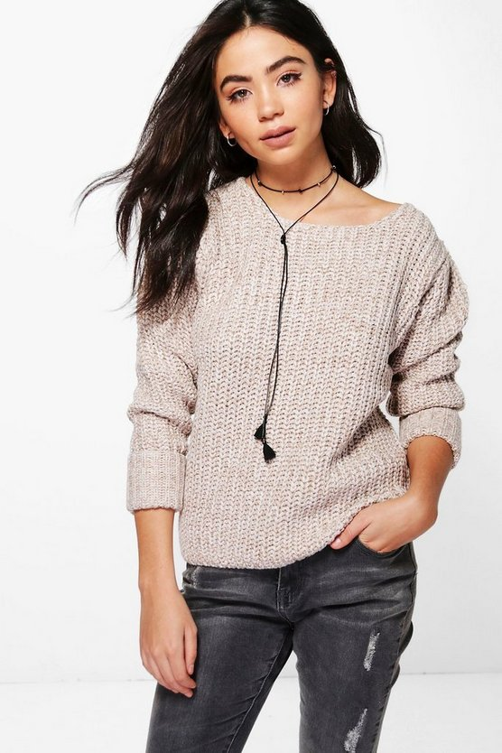 Kayla Marl Knit Turn Up Cuff Jumper