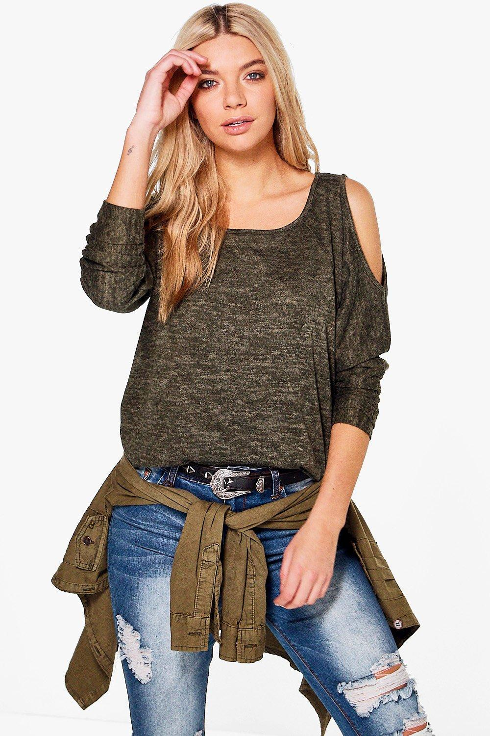 Lexi Cold Shoulder Brushed Knit Jumper