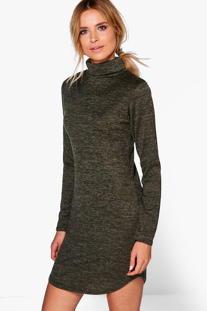 Lacey Roll Neck Brushed Knit Dress