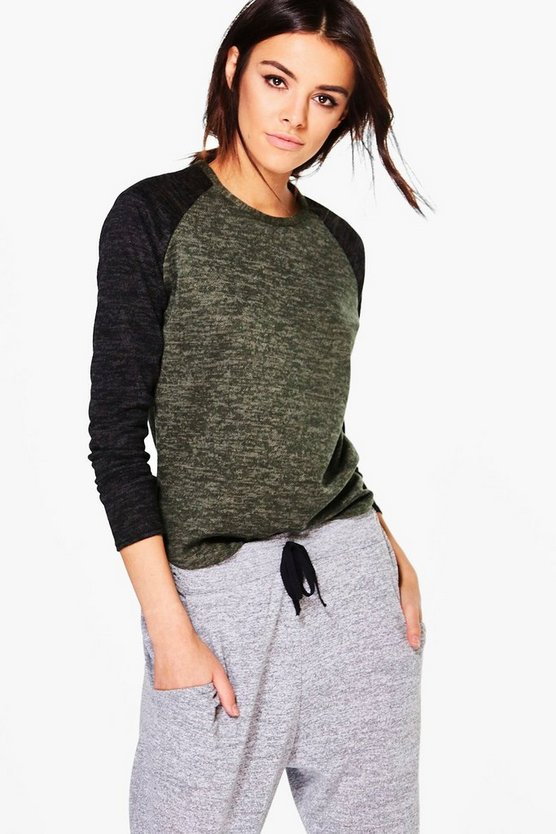 Leah Contrast Sleeve Brushed Jumper