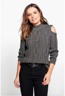 Emily Cable Knit Cold Shoulder Jumper