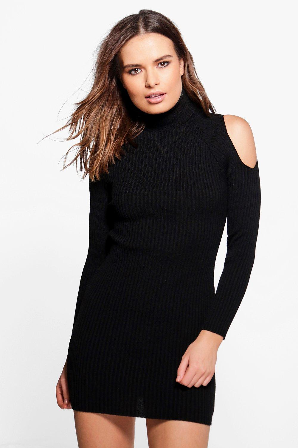 Jasmine Roll Neck Cold Shoulder Rib Knit Dress
