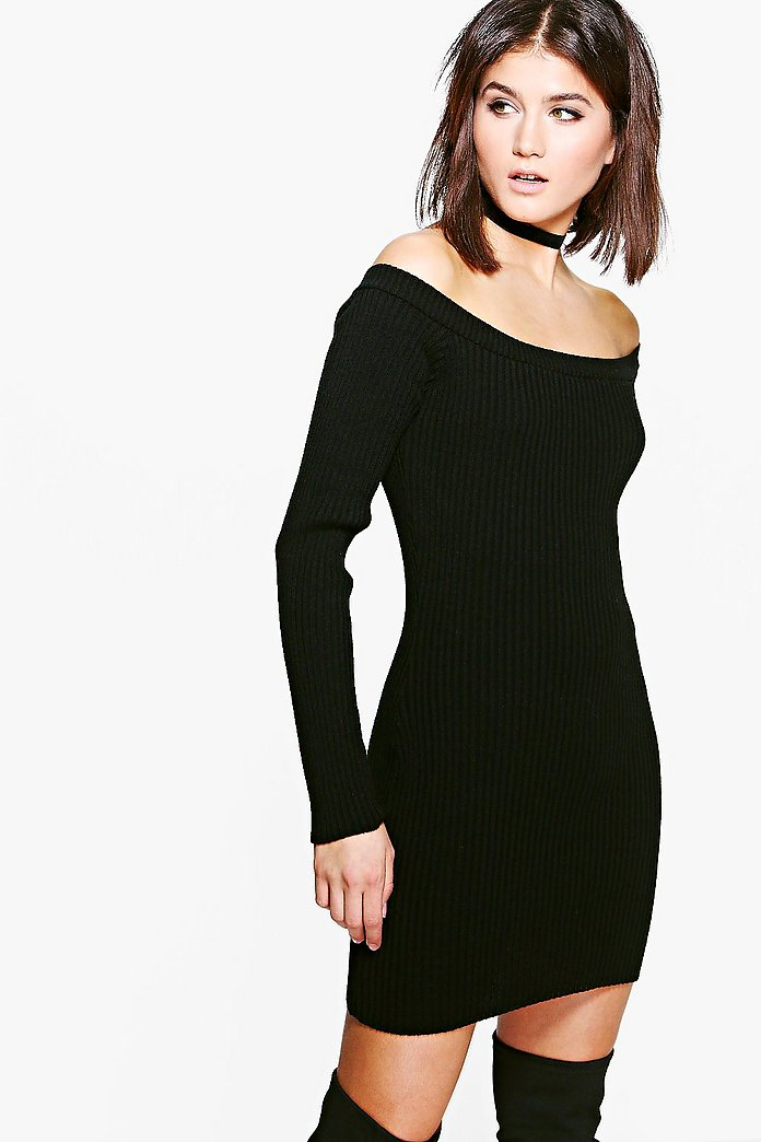 Georgia Rib Knit Bardot Jumper Dress