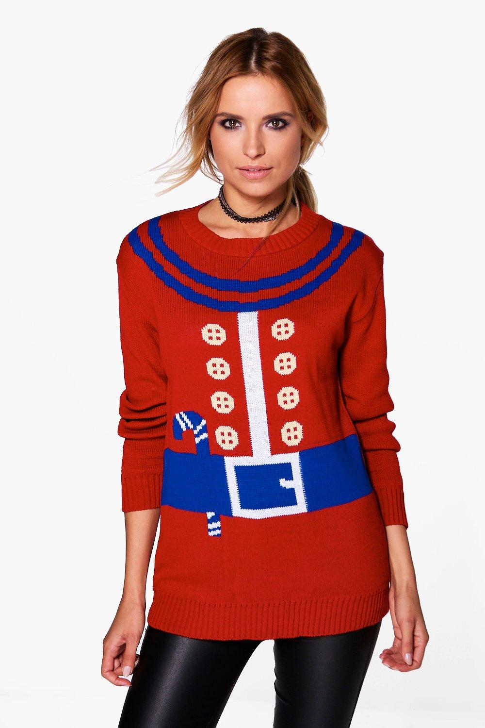 Product photo of Elf suit christmas jumper red