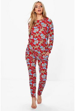 Zoe Gingerbread Print Knitted Loungewear Set