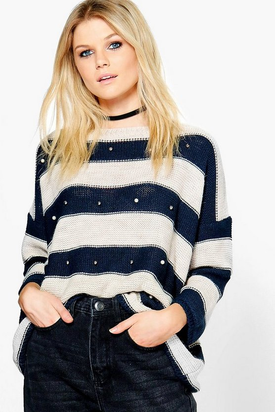 Freya Stripe Embellished Jumper
