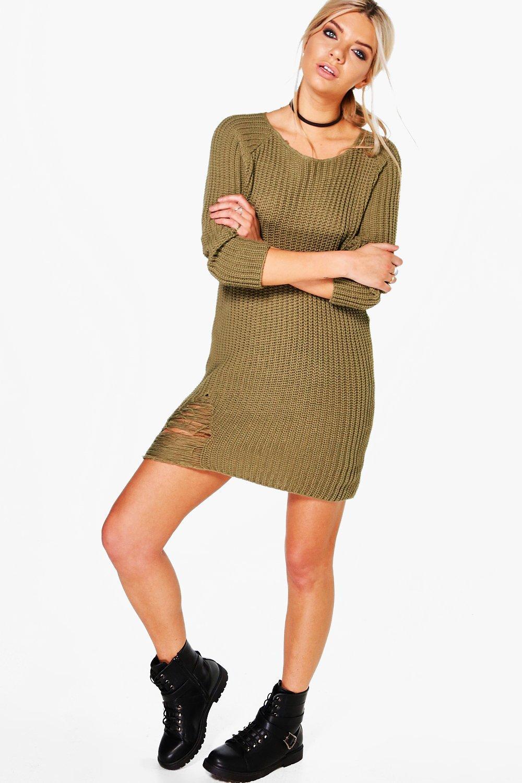 Distressed Knit Jumper Dress  khaki