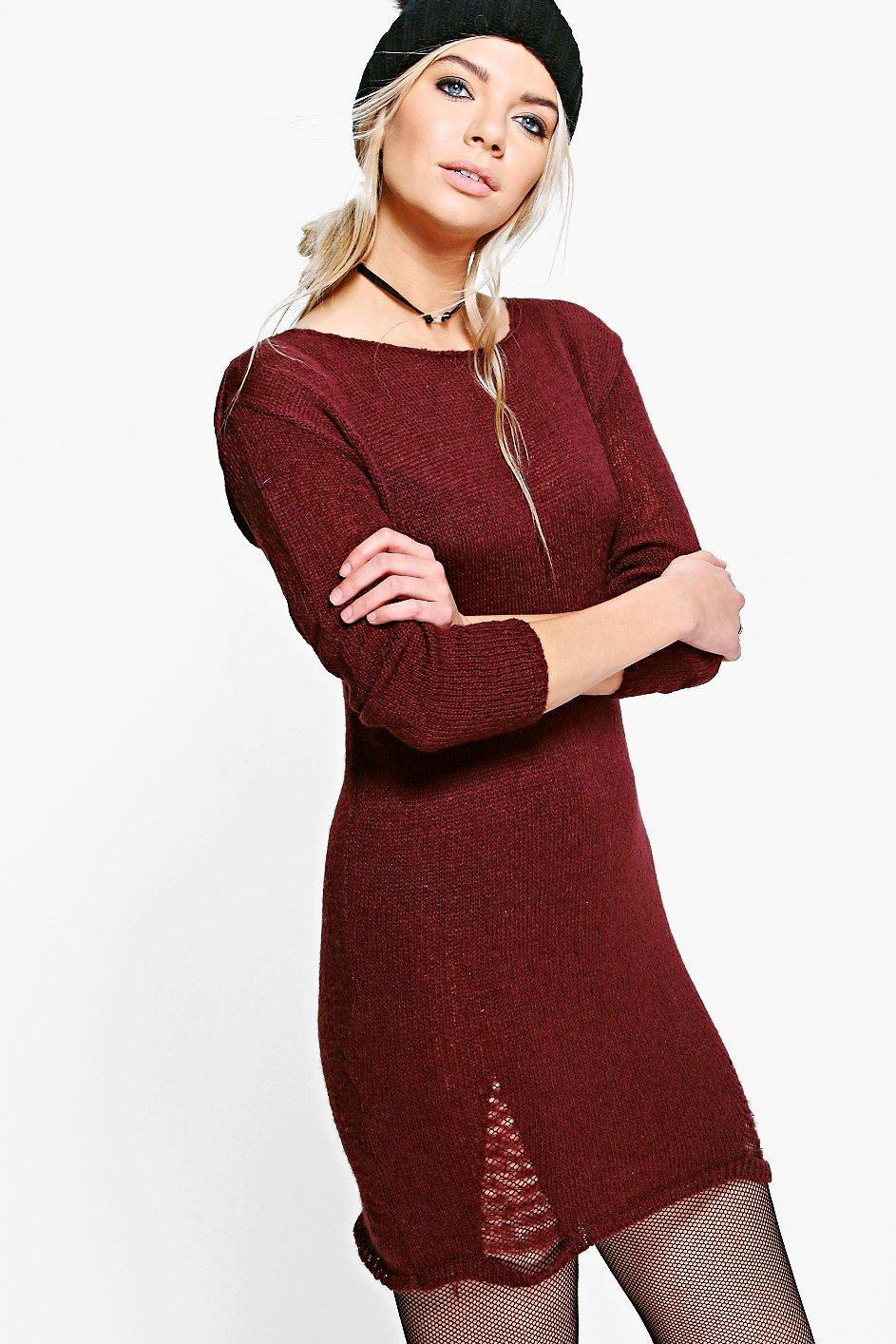 Distressed Detail Soft Knit Jumper Dress  burgundy