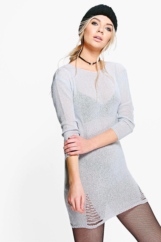 Distressed Detail Soft Knit Jumper Dress  silver