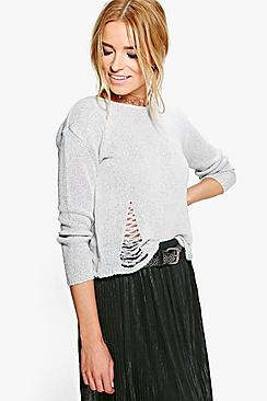 Julia Fine Knit Distressed Detail Jumper