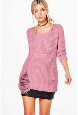 Paige Distressed Fisherman Jumper