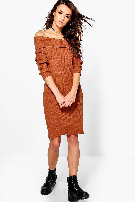Rib Knit Bardot Jumper Dress  chestnut