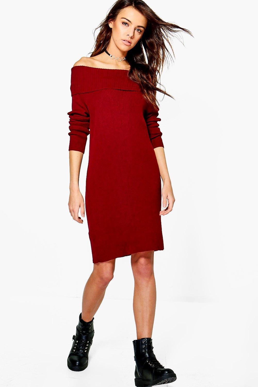 Rib Knit Bardot Jumper Dress  wine
