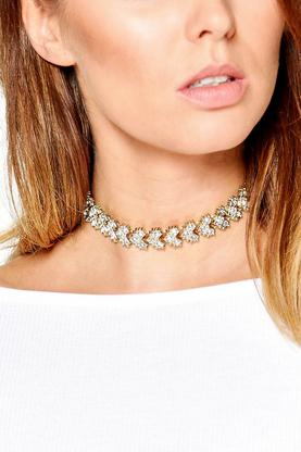 Chevron Diamante Embellished Choker