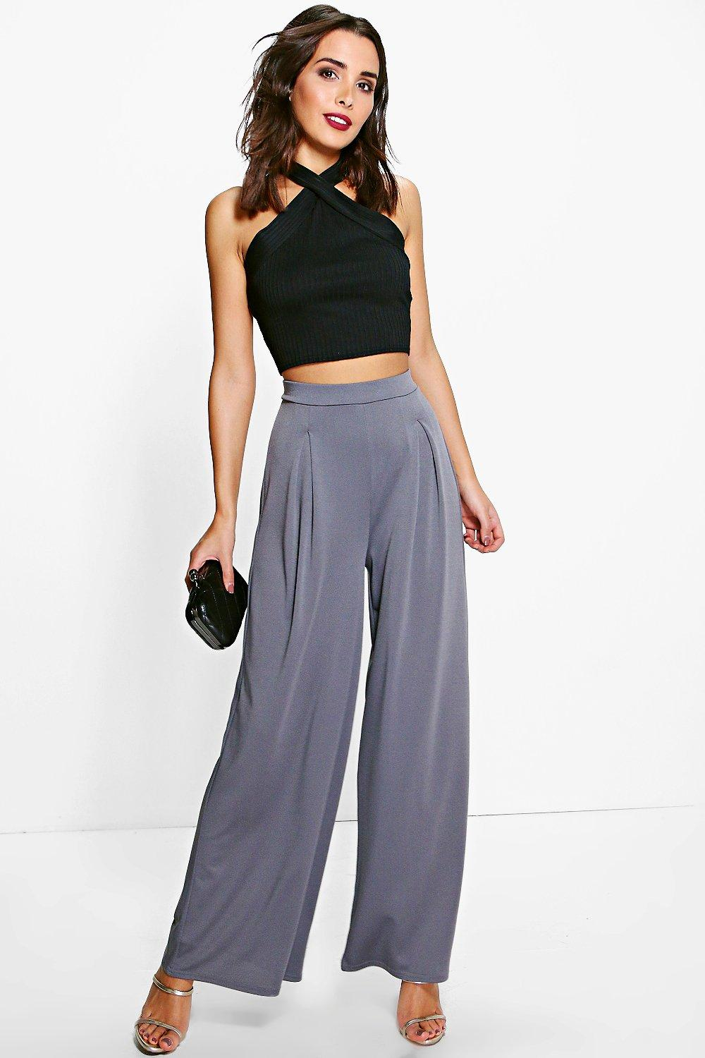 Royah Pleat Front Crepe Wide Leg Trousers