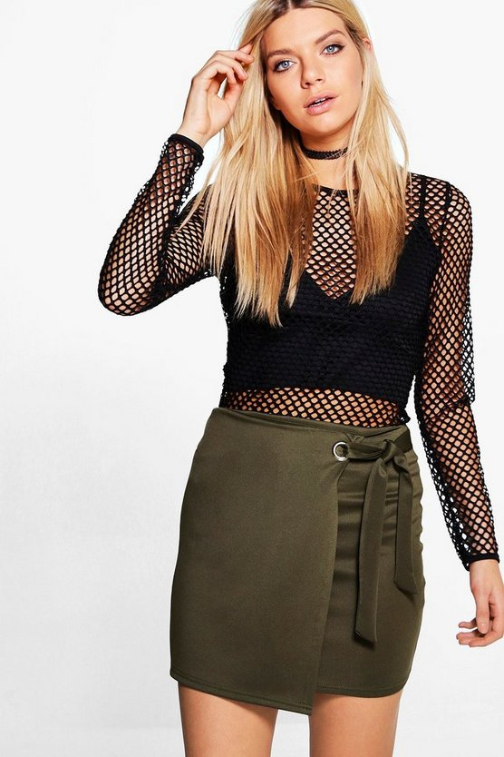 Elle Eyelet Tie Wrap Front Mini Skirt
