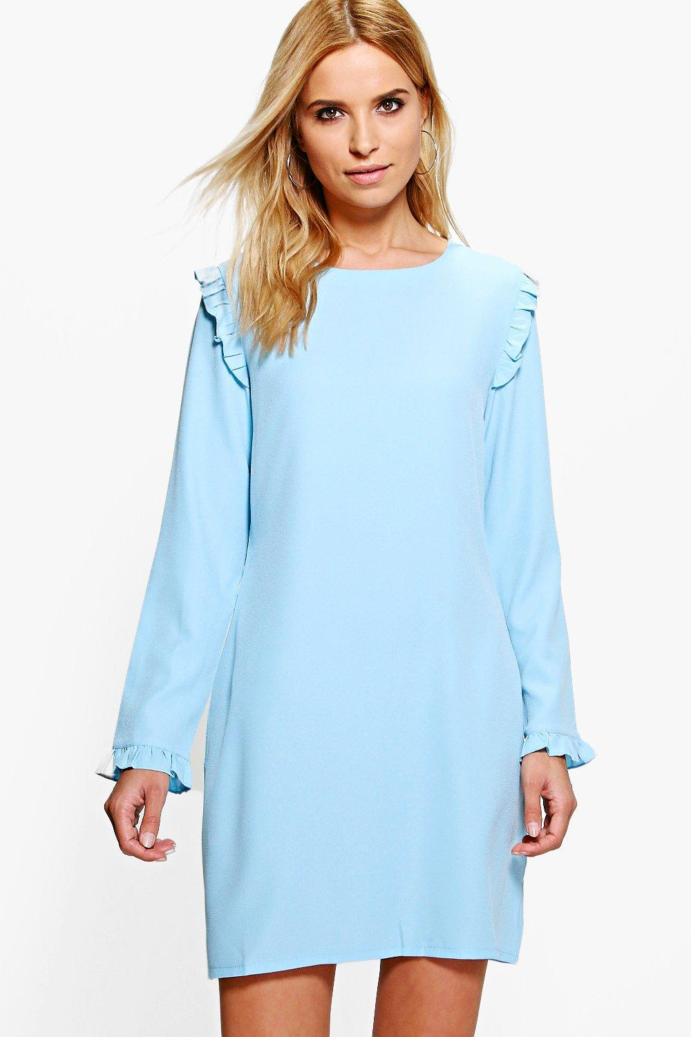 Suvi Long Sleeved Ruffle Shift Dress