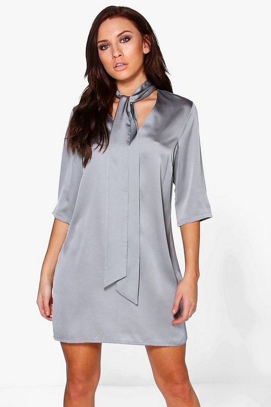 Suri Satin Tie Neck Shift Dress