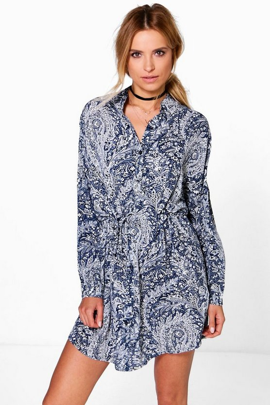 Suki Paisley Print Tie Front Shirt Dress