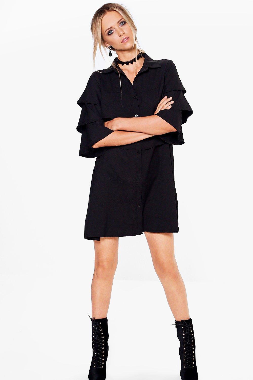 Ruffle Tiered Shirt Dress  black