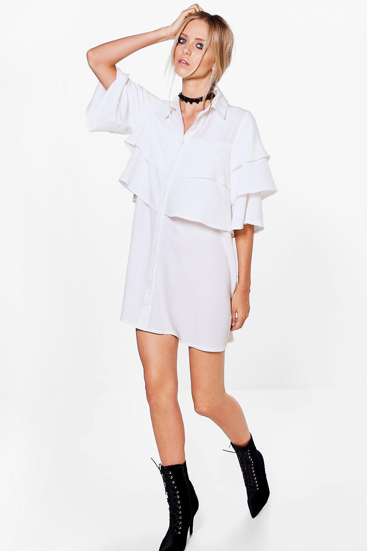Ruffle Tiered Shirt Dress  white