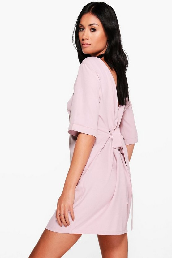 Sara Tie Back Short Sleeved Shift Dress