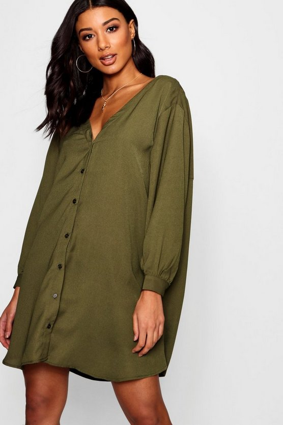 V Neck Off Shoulder Shirt Dress