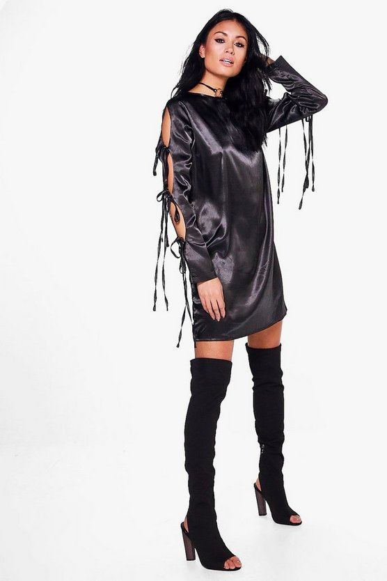 Lace Up Satin Shift Dress