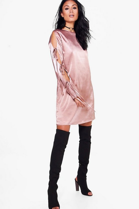 Bonnie Lace Up Satin Shift Dress