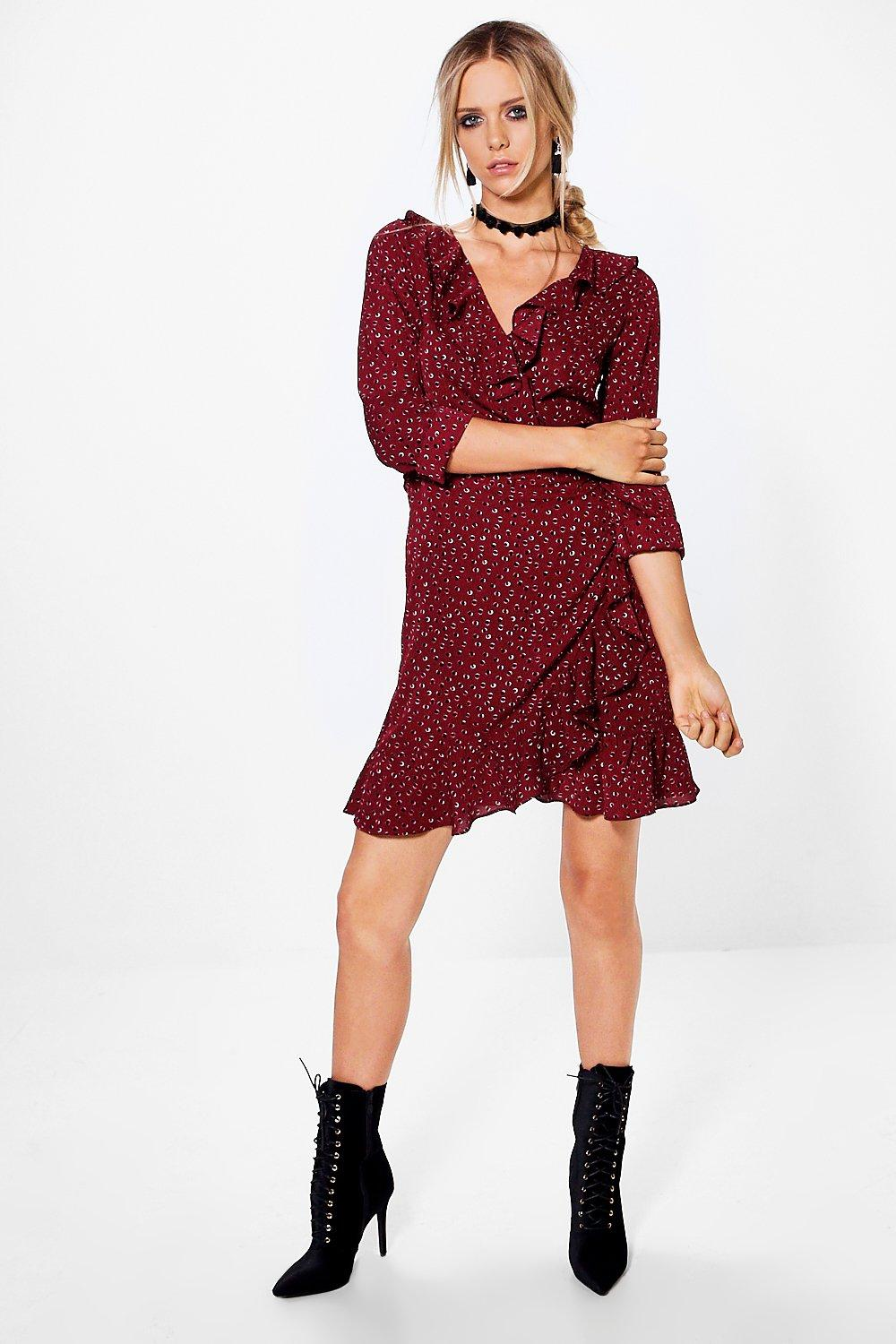 Maeve Ruffle Spot Wrap Tea Dress
