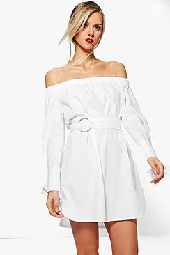 Ava Off Shoulder O-Ring Belted Shift Dress