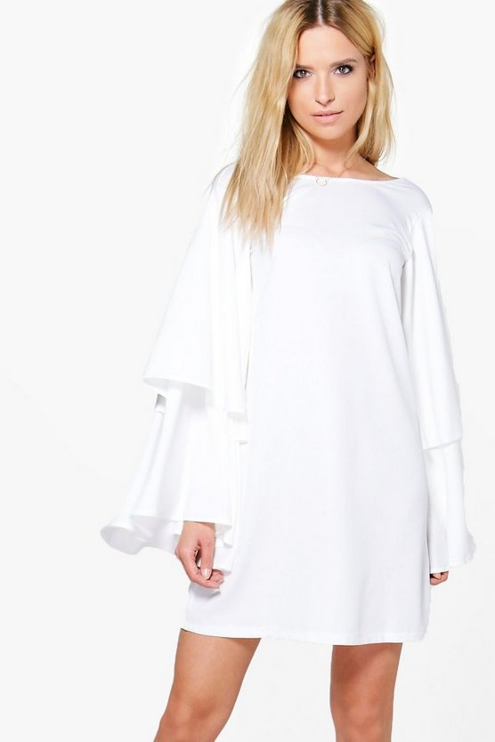 Eva Oversized Ruffle Flute Sleeve Shift Dress