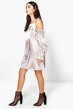 Fi Satin Cold Shoulder Flute Sleeve Shift Dress