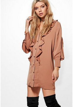 Rita Ruffle Western Shirt Dress